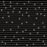 Gouden ster op gestripte achtergrond De confettienviering, Dalende gouden abstracte decoratie voor partij, verjaardag viert, Royalty-vrije Stock Foto