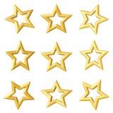 Gouden ster Verschillende hoeken Stock Afbeeldingen