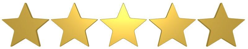 5 gouden sterren beste score stock illustratie