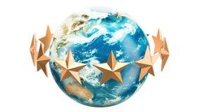 Gouden sterren die rond Aardebol roteren, het 3D teruggeven stock footage