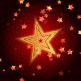 Gouden sterren met spiraal in rood Royalty-vrije Stock Afbeelding