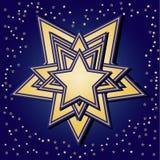 Gouden sterren op blauwe achtergrond Royalty-vrije Stock Foto