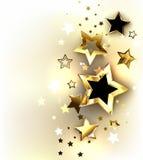 Gouden sterren op een lichte achtergrond stock illustratie
