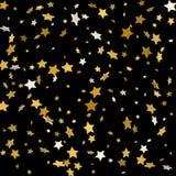 Gouden sterren op een zwarte achtergrond Vector illustratie Royalty-vrije Stock Afbeeldingen