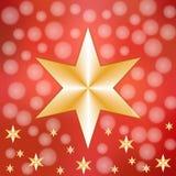 Gouden sterren op rode sneeuwachtergrond Stock Afbeelding