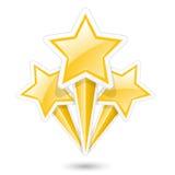 Gouden sterren op stokken - symbolisch vuurwerk Royalty-vrije Stock Afbeeldingen