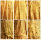 Gouden stoffenachtergronden. Royalty-vrije Stock Fotografie