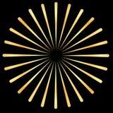 Gouden Stralen, gouden stralenelement Zonnestraal, starburst vorm Uitstralend, gouden radiale, samenvoegende lijnen royalty-vrije illustratie