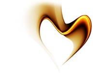 Gouden stroom van liefde die een hart vormt Royalty-vrije Stock Foto's