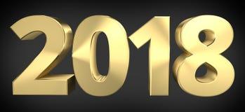 gouden sylvestervette letters 3D 2018 van 2018 stock illustratie