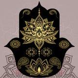 Gouden symbolen van Boeddhisme Mandala, henna, hamsa Indische Stijl Royalty-vrije Stock Foto's