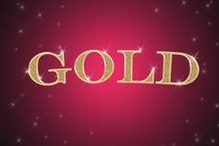 Gouden teken, geschreven woordgoud Stock Afbeelding