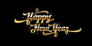 Gouden tekst op zwarte achtergrond Het gelukkige Nieuwjaar van letters voorzien voor uitnodiging en groetkaart, drukken en affich Stock Foto