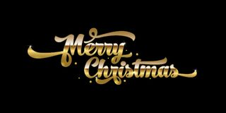 Gouden tekst op zwarte achtergrond Het vrolijke van letters voorzien van Kerstmis Royalty-vrije Stock Foto's