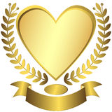 Gouden toekenning-hart met lint (vector) Royalty-vrije Stock Afbeelding