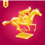 Gouden toekenning Wiiner Paard Racing Vectorillustratie op rode achtergrond Royalty-vrije Stock Foto