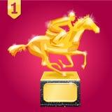 Gouden toekenning Wiiner Paard Racing Vectorillustratie op rode achtergrond Royalty-vrije Stock Foto's