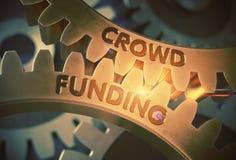 Gouden Toestellen met Menigte Financieringsconcept 3D Illustratie royalty-vrije stock foto