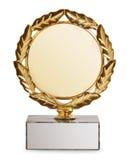 Gouden trofee die op witte achtergrond wordt geïsoleerda royalty-vrije stock afbeeldingen