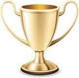 Gouden trofeekop die van achtergrond wordt geïsoleerdi vector illustratie