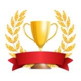 Gouden Trofeekop met Laurel Wreath And Red Ribbon Toekenningsontwerp Het concept van de winnaar Geïsoleerdj op witte achtergrond  Stock Foto's