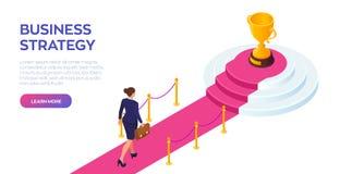 Gouden Trofeekop van de winnaar op een rode tapijtweg Onderneemster met aktentas het in hand lopen op rood tapijt aan het succes stock illustratie
