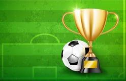 Gouden trofeekoppen en Voetbalbal 002 Stock Fotografie