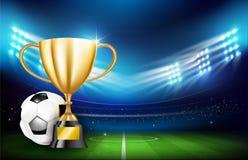 Gouden trofeekoppen en Voetbalbal 001 Royalty-vrije Stock Fotografie