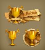 Gouden trofeepictogrammen Stock Foto's