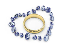 Gouden trouwringen in diamanthart Royalty-vrije Stock Foto's