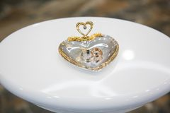 Gouden trouwringen op de tribune voor ringen Royalty-vrije Stock Afbeelding
