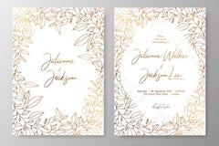 Gouden uitnodiging met kader van bladeren De gouden kaartenmalplaatjes voor sparen de datum, huwelijk nodigt, groetkaarten, prent royalty-vrije illustratie