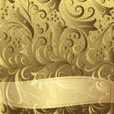 Gouden uitstekend bloemenkader Stock Foto