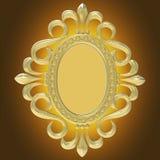 Gouden uitstekend die kader op witte achtergrond wordt geïsoleerd Royalty-vrije Stock Afbeeldingen