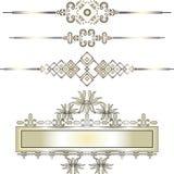 Gouden uitstekend elementengrenzen en lint (eps10) Stock Afbeelding