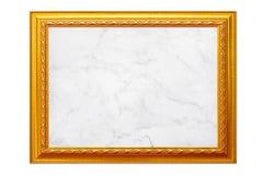 Gouden uitstekend fotokader met witte marmeren die textuur op wit wordt geïsoleerd royalty-vrije stock afbeeldingen