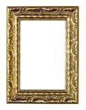 gouden uitstekend frame dat op witte achtergrond wordt geïsoleerdt Stock Foto
