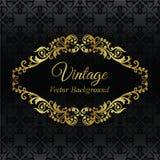 Gouden uitstekend frame op zwart naadloos patroon Stock Fotografie