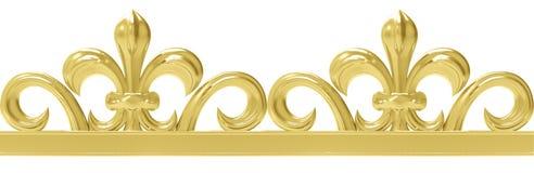Gouden uitstekend naadloos die kader op wit wordt geïsoleerd Stock Foto