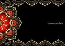 Gouden uitstekende groetkaart op een zwarte achtergrond Het malplaatje van het luxeornament Groot voor uitnodiging, vlieger, menu Royalty-vrije Stock Afbeelding