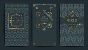 Gouden uitstekende kaart Vectorillustratie voor retro ontwerp Gouden elegant kader Etiketreeks De achtergrond van de luxeuitnodig Royalty-vrije Stock Afbeelding