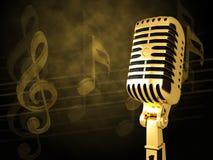 Gouden uitstekende microfoon Stock Afbeeldingen