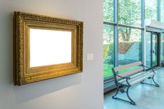 Gouden Uitstekende Omlijsting Art Gallery Museum Exhibit Interior W Stock Foto