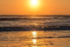 Gouden uur op strand in Heilige Augustine, Florida royalty-vrije stock foto's