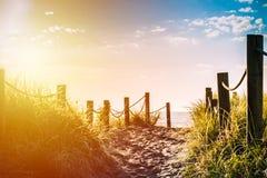 Gouden uur over zandige weg met grasriet en houten posten aan elke kant die tot een mooie overzeese baai leiden royalty-vrije stock afbeelding
