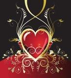 Gouden vakantie rood hart Royalty-vrije Stock Afbeelding