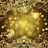 Gouden Valentijnskaartenkader met gouden harten stock illustratie