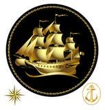Gouden varend schip Royalty-vrije Stock Afbeelding