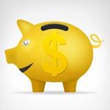 Gouden varkenstreassure in zijaanzicht met de vector van het Dollarsymbool Royalty-vrije Stock Afbeelding