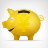 Gouden varkenstreassure in zijaanzicht met de vector van het Yensymbool Stock Foto's